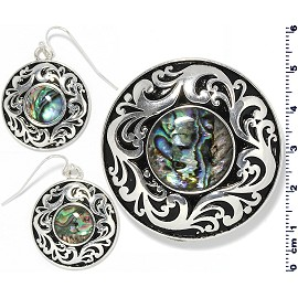 Set Earring Pendant Abalone Silver Green Black Circle PD4044