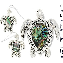Set Earring Pendant Abalone Silver Green Sea Turtle PD4045