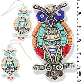 Set Earring Pendant Beads Silver Multi Color Owl PD4047