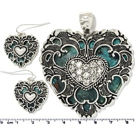 Heart Rhinestones Pendant Earrings Teal Silver PD4053
