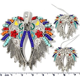 Angel Wings Pendant Earrings Beads Multi Color Red Blue PD4057