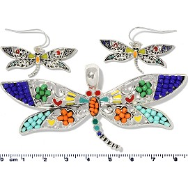 Dragonfly Pendant Earrings Beads Multi Color Red Blue PD4061