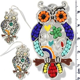 Owl Pendant Earrings Beads Multi Color Red Blue Orange PD4062