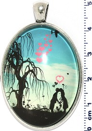 Oval Circle Pendant Couple Kiss Near Tree Turquoise Black PD4075