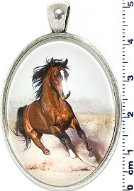 Oval Circle Pendant Horse Running Desert White Brown PD4077