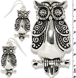 Owl Pendant Earrings Set Black Silver Tone PD4081
