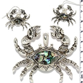 Crab Abalone Pendant Earrings Set Silver Green PD4086
