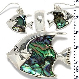 Fish Abalone Pendant Earrings Set Silver Green PD4087