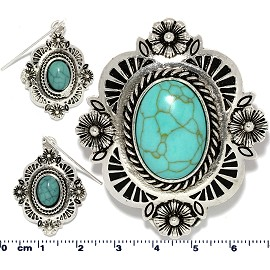 Oval Rectangle Earth Stone Turquoise Pendant Earring Set PD4088