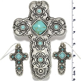 Cross Earth Stone Turquoise Pendant Earring Set Silver PD4089
