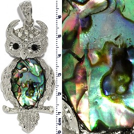 Abalone Pendant Owl Wobble Neck Green Silver PD4095