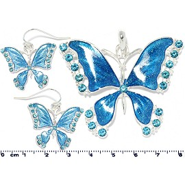 Matching Pendant Earring Set Rhinestones Butterfly Blue PD4100