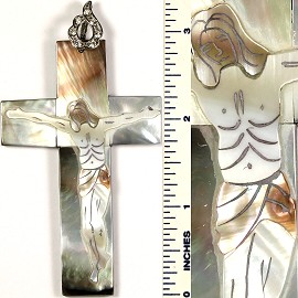 Mother Of Pearl Pendant Crucifix Religious Cream PD421