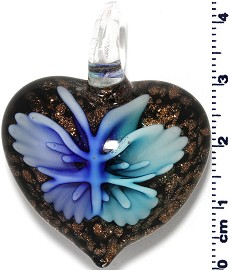 Glass Heart Blue Pendant Sale PD423