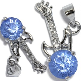 2pc Rhinestone Pendant Guitar 23x12x6mm Silver Light Blue PD428