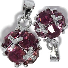 2pc Rhinestone Pendant Ball 15x11mm Purple PD430