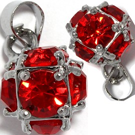 2pc Rhinestone Pendant Ball 15x11mm Red PD431
