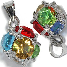 2pc Rhinestone Pendant Ball 15x11mm Multi Color PD432
