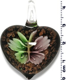 Glass Heart Purple Green Pendant Sale PD434