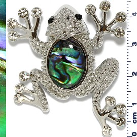 Abalone Pendant Frog Silver Green PD445