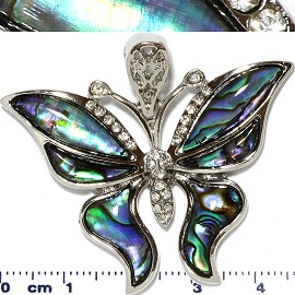 Abalone Pendant Rhinestone Butterfly Silver Green PD447