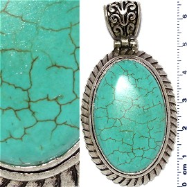 Earth Stone Pendant Oval Silver Turquoise PD448