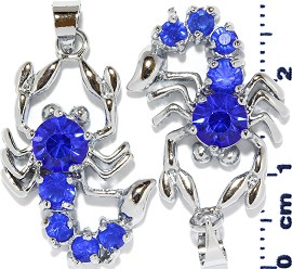 2pc Rhinestone Pendant Scorpion Blue PD456