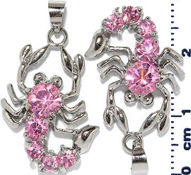 2pc Rhinestone Pendant Scorpion Pink PD457