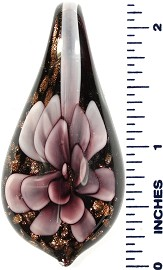 Glass Pendant Tear Flower Black Gold Purple PD478