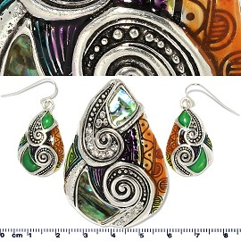 Set Earring Tear Drop Anti Black Brown Green Rhinestone PD490