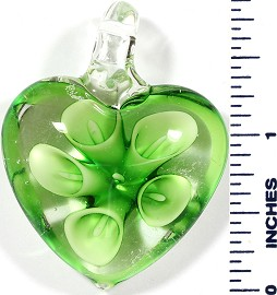 Glass Pendant Heart Flower Clear Green PD497