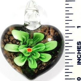 Glass Pendant Heart Flower Black Gold Green PD500