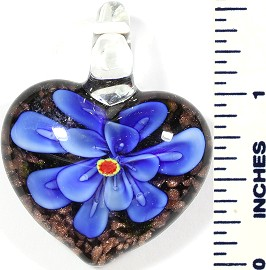 Glass Pendant Heart Flower Black Gold Blue PD501