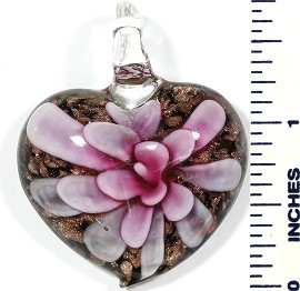 Glass Pendant Heart Flower Black Gold Hot Pink PD502