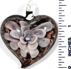 Glass Pendant Heart Flower Black Gold Pink White PD503