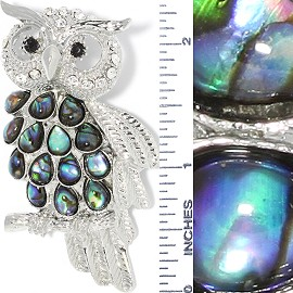 Abalone Pendant Owl Silver Green PD504