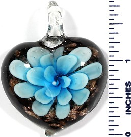 Glass Pendant Heart Flower Black Gold Sky Blue PD506