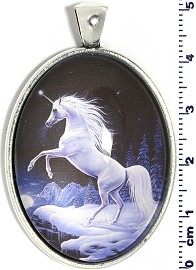 Oval Picture Pendant Unicorn Horse White Black Silver Tone PD508