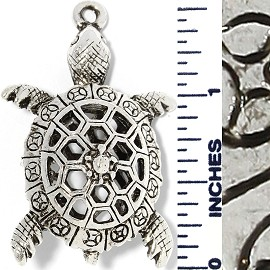 Metallic Pendant Turtle Silver PD518