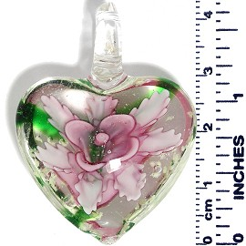 Glass Pendant Heart Flower Clear Green Pink PD524