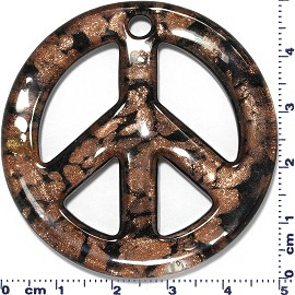 Glass Pendant Murano Circle Peace Sign Gold Brown Black PD526