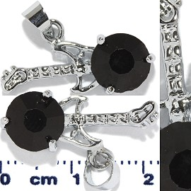 2pc Rhinestone Pendant Guitar Silver Black PD527