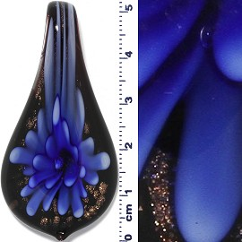 Glass Pendant Murano Spoon Flower Black Gold Blue PD538