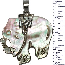 Mother Of Pearl Elephant Left Pendant Green Magenta Ivory PD543