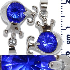 2pc Rhinestone Pendant Crown Fish Silver Blue PD546