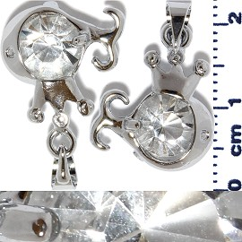 2pc Rhinestone Pendant Crown Fish Silver White Clear PD548