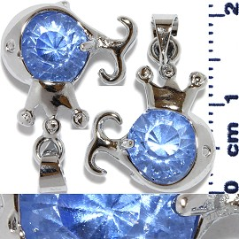 2pc Rhinestone Pendant Crown Fish Silver Light Blue PD549