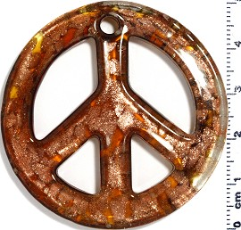 Glass Pendant Peace Sign Gold Brown PD553