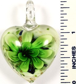 Glass Pendant Flower Heart White Green PD561
