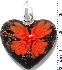 Glass Pendant Murano Heart Flower Black Gold Orange PD563